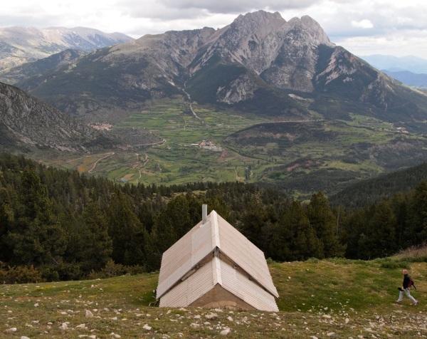 Alpine hut overlooking Pic de Pedraforca