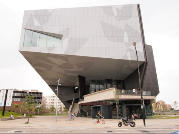 CaixaForum Zaragoza features a central pillar skewering the building