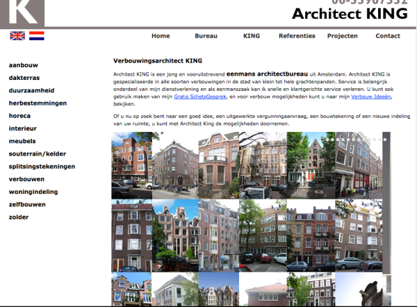 Screen grab of www.kingarchitecten.nl