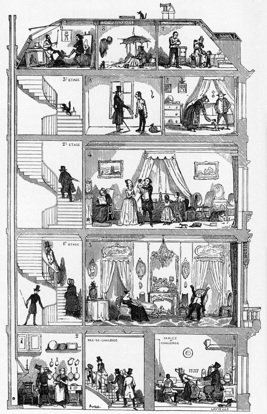 Paris vernacular cartoon by Edmond Texier : Tableau de Paris 1852
